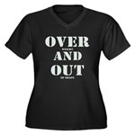 Over & Out Women's Plus Size V-Neck Dark T-Shirt