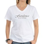Flatulence Is A Virtue Women's V-Neck T-Shirt