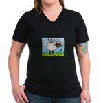 Spring Sheep Women's V-Neck Dark T-Shirt