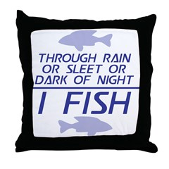 Through Rain... I Fish Throw Pillow