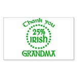 25% Irish - Thank You Grandma Sticker (Rectangle)