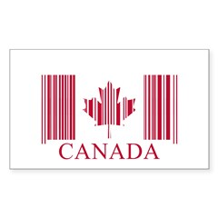 Barcode Canada Flag Sticker (Rectangle)