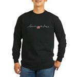 American Flag Chicago Skyline Long Sleeve Dark T-Shirt