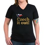 Czech It Out! Women's V-Neck Dark T-Shirt