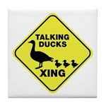 Talking Ducks Crossing Tile Coaster