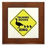 Talking Ducks Crossing Framed Tile