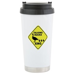 Talking Ducks Crossing Ceramic Travel Mug