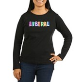 Colorful Retro Liberal Women's Long Sleeve Dark T-