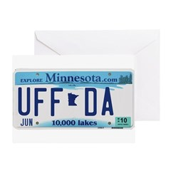 Uffda License Plate Shop Greeting Card