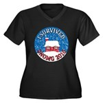 I Survived SNOMG 2010 Women's Plus Size V-Neck Dark T-Shirt