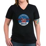 I Survived Snopocalypse Blizzard of 2010  Women's V-Neck Dark T-Shirt