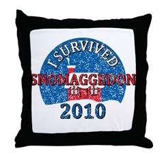 I Survived Snomaggedon Blizzard of 2010 Throw Pillow