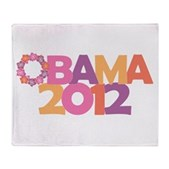 Obama Flowers 2012 Stadium Blanket