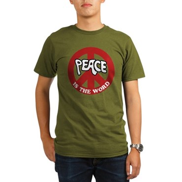 Peace is the word Organic Men's T-Shirt (dark)