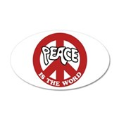 Peace is the word 22x14 Oval Wall Peel