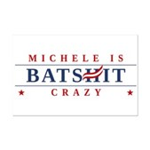 An anti-Michele Bachmann spoof logo design w/ slogan Michele is Batshit Crazy. This original anti-Tea Party anti-Republican spoof logo design includes the toothpaste swirl across the H of Bachmann.