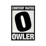 Content Rated Owler Rectangle Magnet