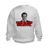 Anti-Romney: Unfit To Serve Kids Sweatshirt