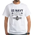 My Nephew is defending - Navy White T-Shirt
