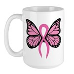 Breast Cancer Butterfly Large Mug