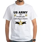 Army Granddaughter Defending Freedom White T-Shirt
