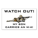 WATCH OUT MILITARY SON M-4 Sticker (Rectangular)