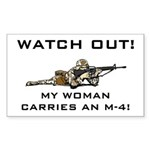 WATCH OUT MILITARY WOMAN M-4 Sticker (Rectangular)