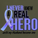 Never Knew A Hero 2 LT BLUE (Husband) Dark T-Shirt