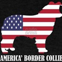 American Border Collie Dog Flag Memorial D T-Shirt