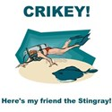 Crikey Here's My Friend The Stingray Black T-Shirt