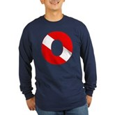Scuba Flag Letter O Long Sleeve Dark T-Shirt