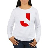 Scuba Flag Letter J Women's Long Sleeve T-Shirt