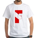 Scuba Flag Letter F White T-Shirt