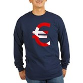 Scuba Flag Euro Sign Long Sleeve Dark T-Shirt