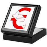Scuba Flag Euro Sign Keepsake Box