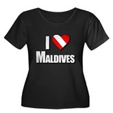 Scuba: I Love Maldives Women's Plus Size Scoop Nec