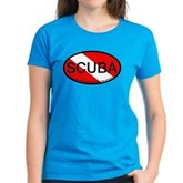 Scuba Oval Dive Flag Women's Dark T-Shirt