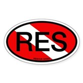 RES Oval Scuba Flag Oval Sticker