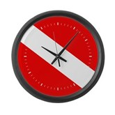 Scuba Flag (white lines) Large Wall Clock