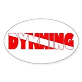 Dykning Danish Dive Flag Oval Sticker