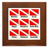 Dive Flags of the World Framed Tile